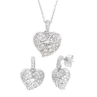 Sterling Essentials Silver Pave Cubic Zirconia Butterfly Heart Necklace and Earrings Set