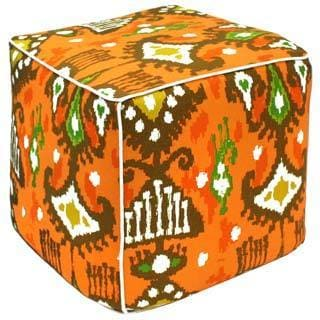 Orange Dijon Ikat Pouf Ottoman (India)