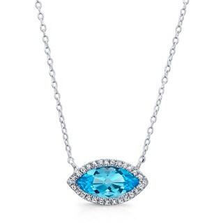Sterling Silver Blue Topaz and 1/6ct TDW Diamond Necklace (J-K, I2-I3)