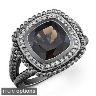 Black-plated Silver Smokey Quartz and 1/5ct TDW Diamond Ring (J-K, I2-I3)