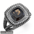 Black-plated Silver Smokey Quartz and 1/5ct TDW Diamond Ring (J-K, I2-I3)