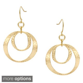 Alexa Starr Goldtone or Silvertone Hammered Ring Drop Earrings