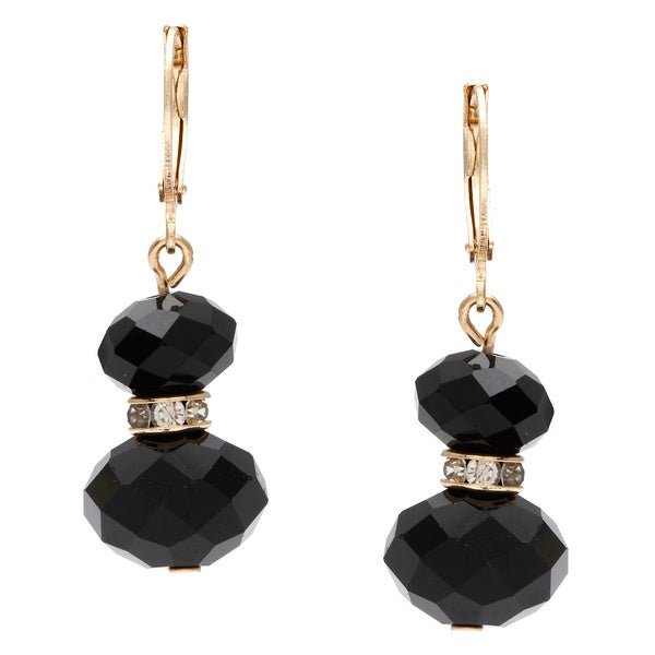 Alexa Starr Goldtone Faceted Black Glass Bead Double Drop Earrings