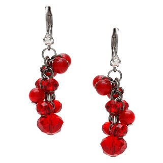 Alexa Starr Red Faceted Glass and Cats Eye Cluster Earrings