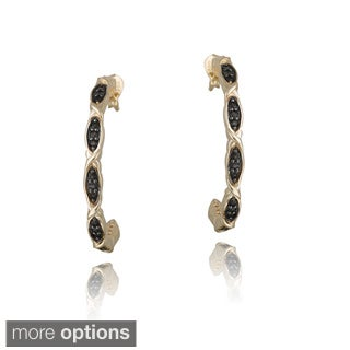 Glitzy Rocks Gold over Silver Smokey Quartz Half Hoop Earrings