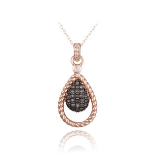 Glitzy Rocks Rose Gold over Silver White Topaz and Smokey Quartz Teardrop Necklace
