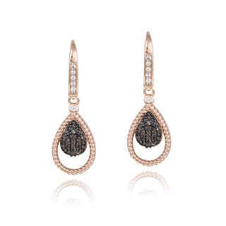 Glitzy Rocks Rose Gold over Silver White Topaz and Smokey Quartz Teardrop Earrings