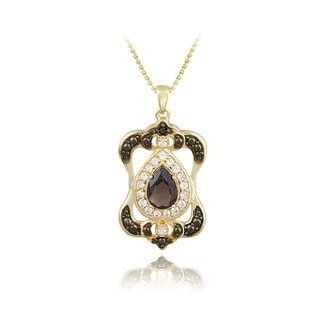 Glitzy Rocks Gold over Silver Smokey Quartz, White Topaz and Diamond Necklace