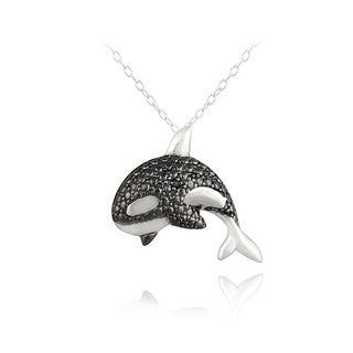 DB Designs Sterling Silver Black Diamond-accent Killer Whale Necklace