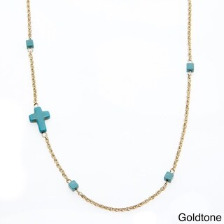 Alexa Starr Goldtone or Silvertone Created Turquoise Sideways Cross Necklace
