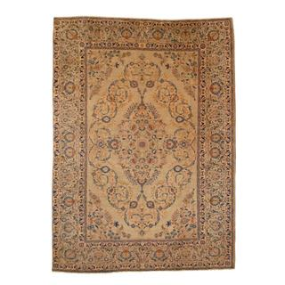 Antique 1960's Persian Hand-knotted Kashan Light Green/ Navy Wool Rug (8'6 x 12')