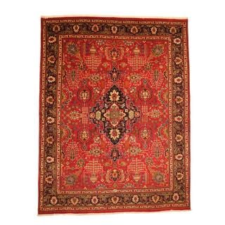 Persian Hand-knotted Tabriz Red/ Navy Wool Rug (9'8 x 12'6)