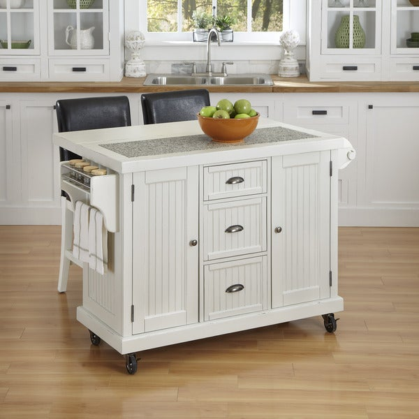 Home Styles Nantucket Distressed Kitchen Cart and Two Stools