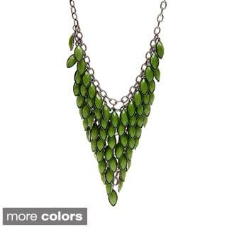 Alexa Starr Bronzetone or Hematite-colored Lucite Bib Necklace