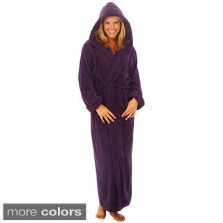 Del Rossa Women's Full Length Hooded Terry Cotton Robe