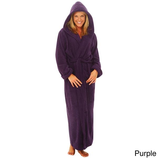 Del Rossa Women's Full Length Hooded Terry Cotton Robe