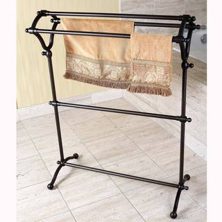 Pedestal Oil Rubbed Bronze Bath Towel Rack - brown