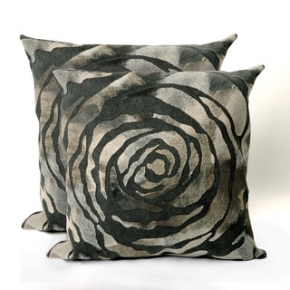 Set of Two Dyed Roses 20 inch Square Throw Pillows