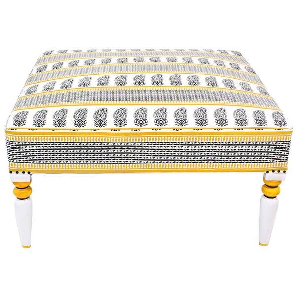 White and Yellow Calma Ottoman (India)