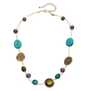Alexa Starr Goldtone Wire-wrapped Green and Purple Glass Necklace