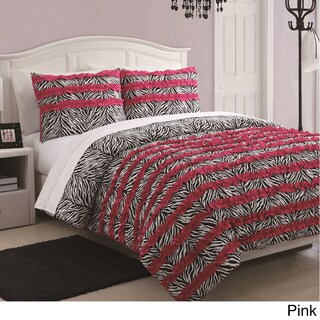 McKenzie 3-piece Zebra Stripe Ruffle Comforter Set