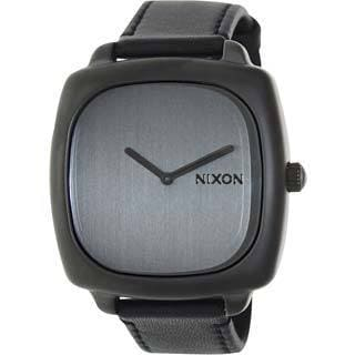 Nixon Women's Shutter A2861062-00 Black Leather Quartz Watch with Silver Dial