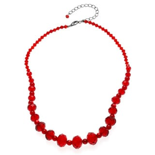 Alexa Starr Graduated Red Glass and Catseye Bead Necklace