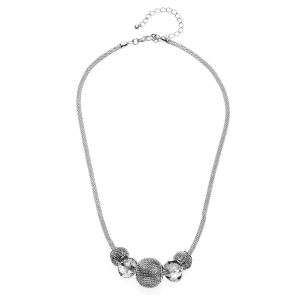 Alexa Starr Silvertone Mesh Faceted Glass Bead Slider Necklace