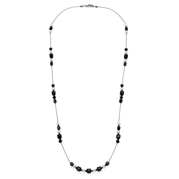 Alexa Starr Silvertone Faceted Glass and Faux Pearl Illusion Necklace