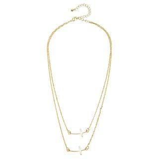 Alexa Starr Goldtone or Silvertone 2-row Sideways Cross Necklace