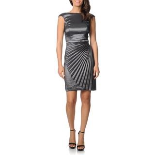 London Times Women's Steel Metallic Pleated Dress