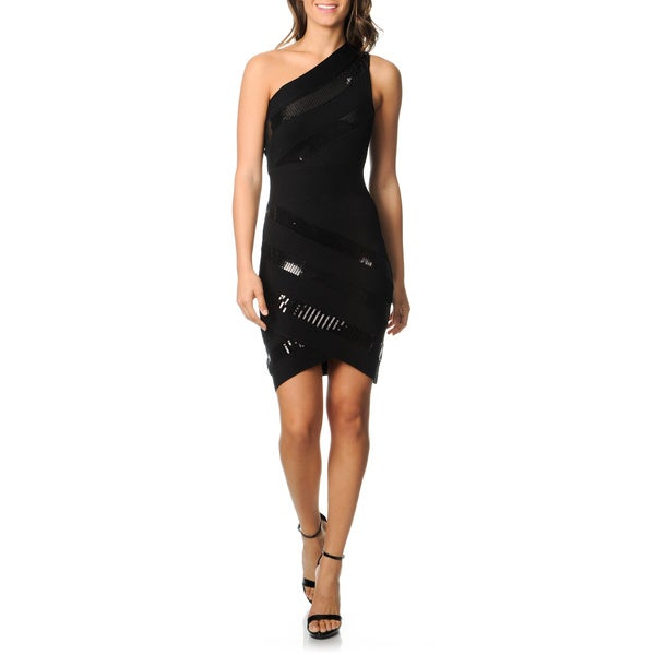 London Times Women's Black One-shoulder Sequin Accent Dress