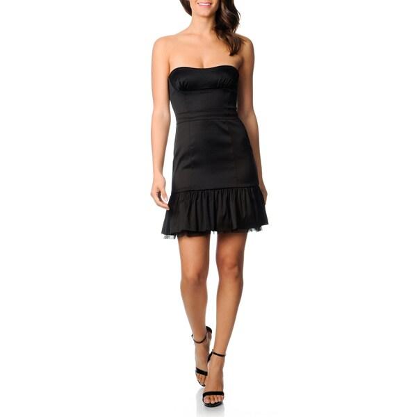 BCBG Maxazria Women's Black Flounce Hem Cocktail Dress