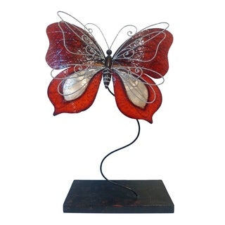 Handcrafted Red Standing Butterfly Sculpture (Philippines)