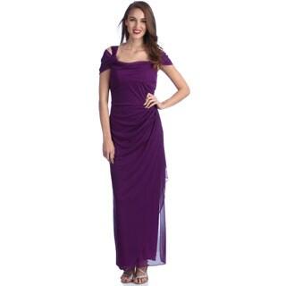 Alex Evenings Women's Dark Magenta Cold Shoulder Long Evening Dress