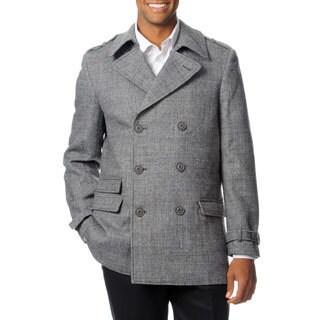 West End Men's 'Wallace' Black Wool Blend Pea Coat