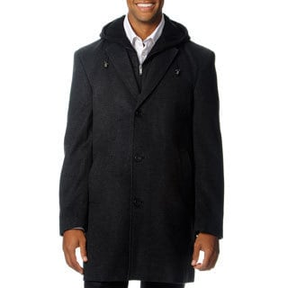 West End Men's 'Westley' Charcoal Hooded Pea Coat