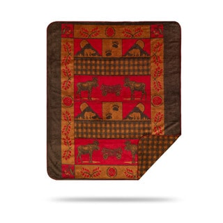 Denali Moose and Bear Throw Blanket