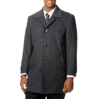 Pronto Moda Europa Men's 'Rodeo' Grey Herringbone Cashmere Blend Top Coat