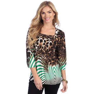 La Cera Women's Brown Animal Print Square Neck Tunic