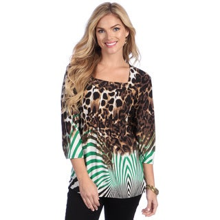 La Cera Women's Animal Print Square Neck Tunic