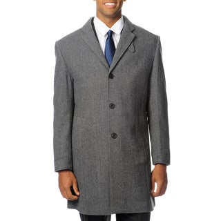 West End Young Men's 'Walters' Black Twill Top Coat