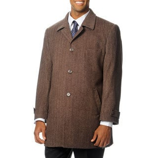 Pronto Moda Europa Men's 'Rodeo' Light Brown Herringbone Cashmere Blend Top Coat