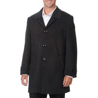 Pronto Moda Europa Men's 'Rodeo' Charcoal Cashmere Blend Top Coat