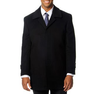 Pronto Moda Europa Men's 'Rodeo' Black Cashmere Blend Top Coat