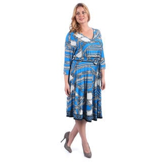 La Cera Women's Plus Size Blue Geometric V-neck Dress