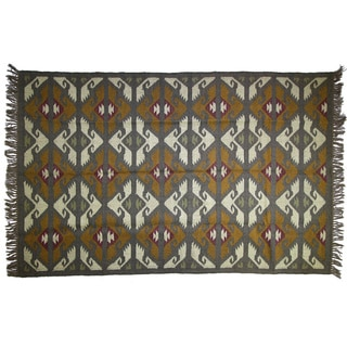 Handwoven 5 x 7-foot Wool and Jute Kilim Rug (India)
