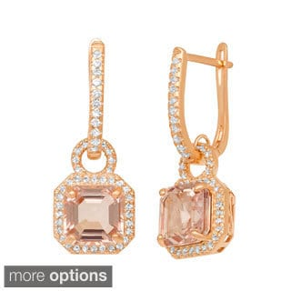 Jenne Rose Goldplated Silver Simulated Morganite and Created Sapphire Earrings