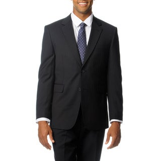 Nautica Men's Black Striped Wool Performance Blend Suit