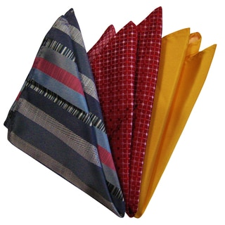 Dmitry Men's Gray/Yellow/Red Italian Silk Pocket Squares (Pack of 3)